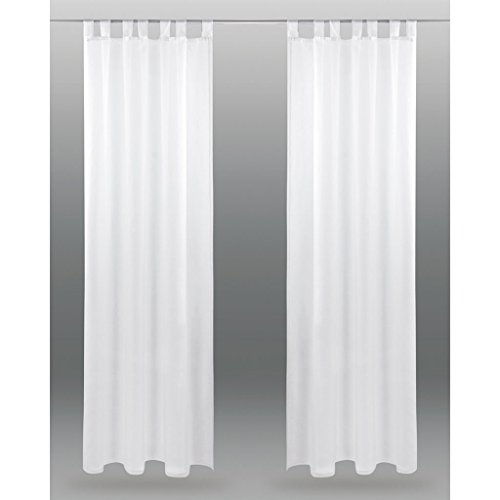 Schlaufenschal Noella, transparenter Dekoschal Voile b 140x l 245 cm 2er Pack, elegantes und stilvolles Wohnaccessoire in vielen verschiedenen Farben erhältlich (weiß - reinweiß / ohne Raffhalter)