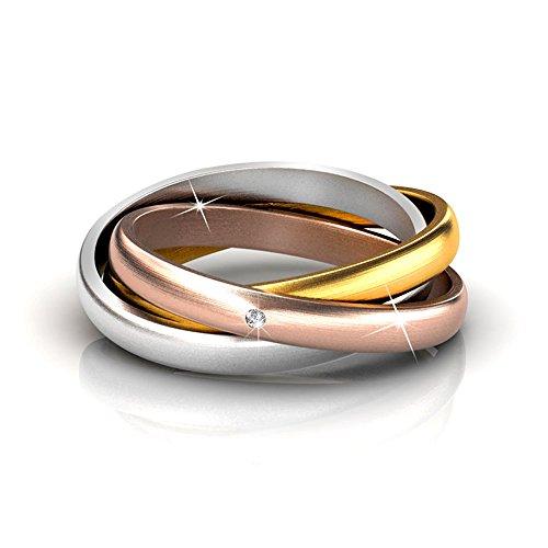 Cate & Chloe Damen Kenzie 18K Gold Ring W/Swarovski-Kristallen, Interlocking Ringe, Multicolor Verschlungene Ring mit Gold, Rose Gold, Silber Promise Ring für Mädchen, Runde Diamond Cut Ring (6) - 6
