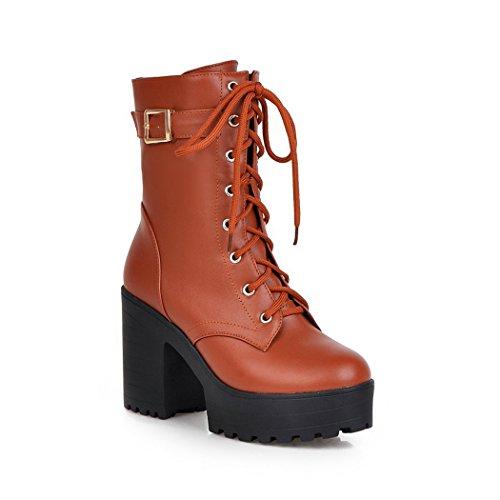 ZQ@QXregalo di Natale Europea e Americana di dimensioni grandi scarpe donna, pizzo UPS, stivali, fibbie, stivali impermeabili per Donna stivali yellow
