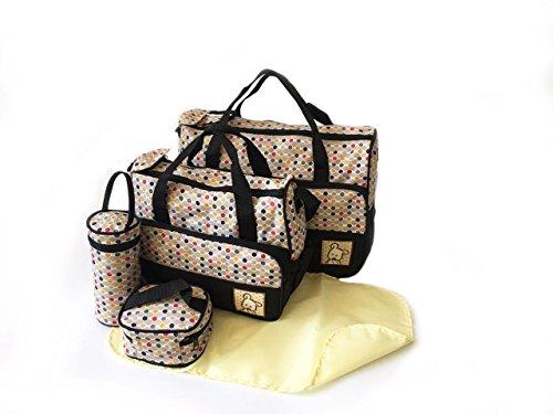 Bolso cambiador y accesorios, 5 piezas, diseño de lunares beige 5pcs Black Polka Dot Bags