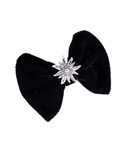 SIX Oktoberfest Haarschmuck, schwarze Samtschleife, Haarspange, mit Edelweiss Anhänger, silber, schwarz (04-544)
