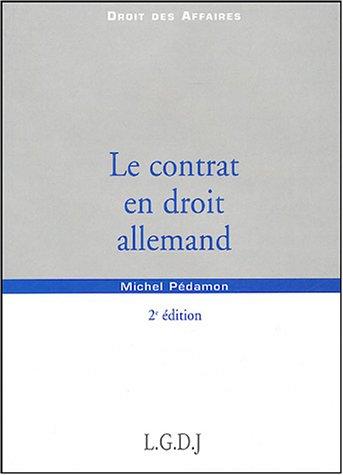 Le contrat en droit allemand