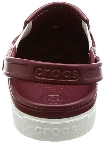 crocs CitiLane Unisex-Erwachsene Clogs Braun (Garnet/white)