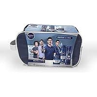 NIVEA MEN Protege & Cuida neceser set de baño, cuidado con el kit de regalo para hombre, caja de regalo con antitranspirante, espuma para afeitar y after shave