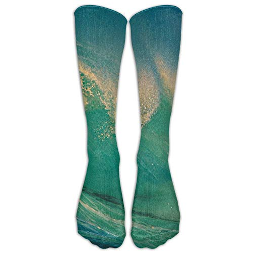 Nifdhkw Green Sea Wave Outdoor Athletic Running Long Socks Novelty Calf High Sock Unisex