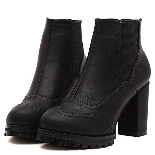 AllhqFashion Damen Bestickt PU Leder Hoher Absatz Ziehen auf Rund Zehe Stiefel, Rot, 34