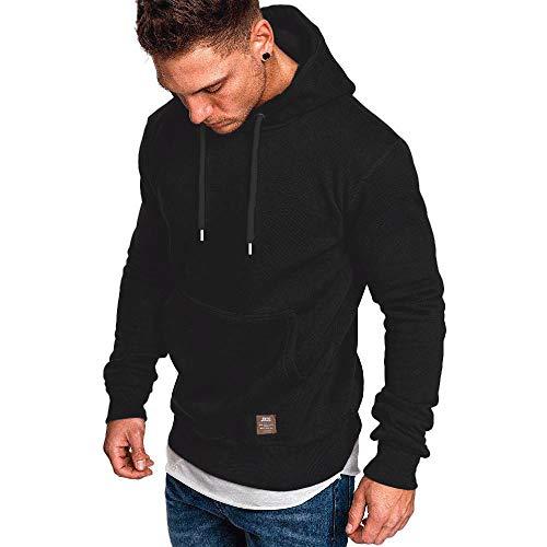 SELENECHEN Herren Sweatshirt Kapuzenpullover Sweatjacke Pullover Hoodie Sweat Hood (Schwarz, L)