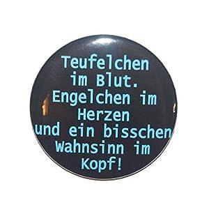Lustiger Spruch: Teufelchen im Blut - Varianten: Button Kühlschrankmagnet Flaschenöffner Taschenspiegel Schlüsselanhänger