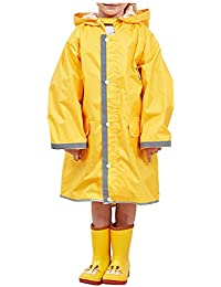 Deylaying Kids Cartoon Regenjacke - Kapuzen Rainsesuits Wasserdichte Mantel Regen Oberbekleidung Reflektierende Streifen Ponchos mit Schultasche Cover Pocket