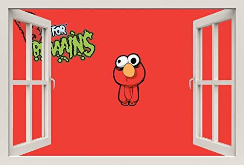 Unified Distribution Sesam Straße Elmo Zombie - Wandtattoo mit 3D Effekt, Aufkleber für Wände und Türen Größe: 92x61 cm, Stil: Fenster