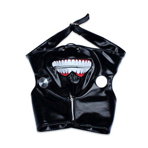 y Tokyo Ghoul Kaneki Ken Einstellbare Reißverschluss PU-Leder-Masken-Halloween-Prop (Halloween Props)