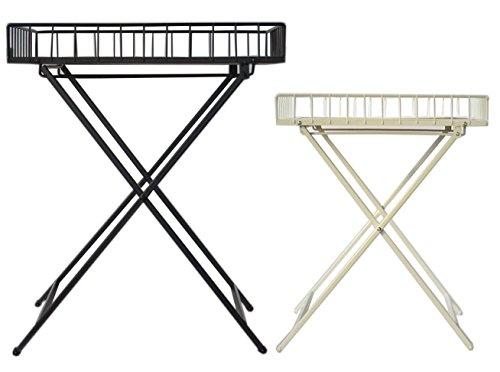 Klapptisch Beistelltisch Terrassen Tisch Campingtisch Klappbar Holz Metal Neu (Weiß)