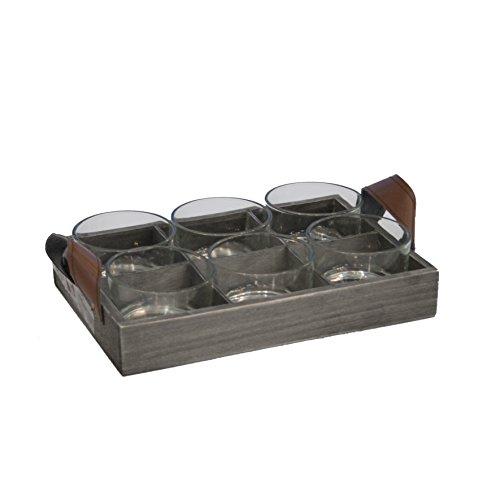 Saveur et Dégustation KA1263 Pot/Cagette 6 Pièces Verre/Bois 24,5 x 17 x 6,5 cm