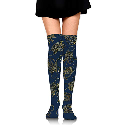 Gold Squids Women's Over Knee Thigh Socks Girl High Stockings 65 Cm/25.6In -
