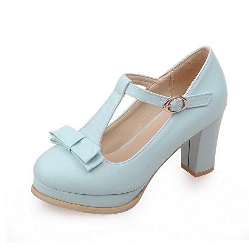 AgooLar Femme Boucle Rond Pu Cuir à Talon Haut Couleur Unie Chaussures Légeres Bleu