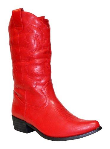 Surdelle, Damen Stiefel & Stiefeletten  Rot rot 36 (Stiefeletten Cowboy Fashion)