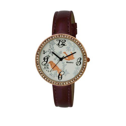 henley h06072.10 - reloj analógico de cuarzo para mujer, correa de plástico color rojo