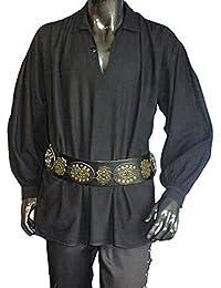 Piratenhemd mit klassischem Kragen Mittelalter Gothic schwarz 193