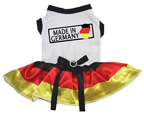 Petitebelle Puppy Dog Kleidung Made in Germany in weiß Baumwolle Top Rot Tutu Kleid