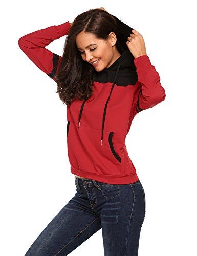 Finejo Damen Kapuzenpullover Herbst Winter Sweatshirt mit Kapuze und langarm einfarbig sweatshirt Hoodies Dunkelrot