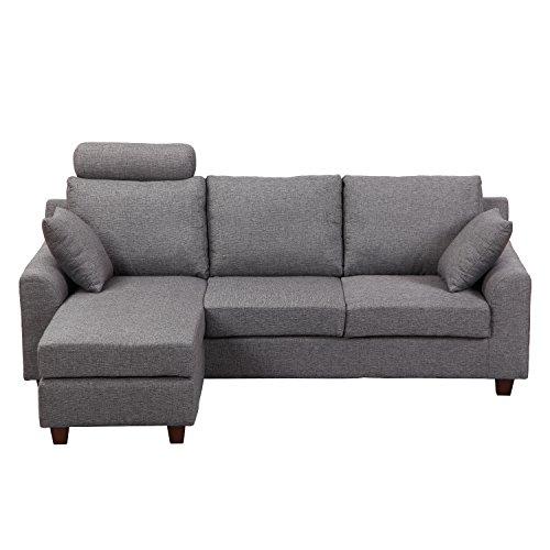 Homcom - divano a 3 posti con poggiapiedi e cuscini in tessuto di lino grigio scuro, 194 x 80 x 86cm