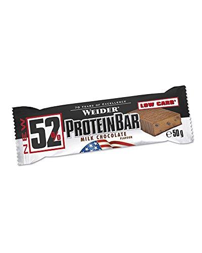 Weider 52% Protein Bar (24x 50g Box), Chocolate/Schokolade, 1er Pack, (1 x 1.2kg) -
