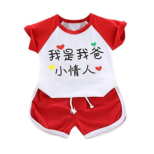wuayi  Baby Mädchen Kleidung, Kind Mädchen T-Shirt (Chinesische Bedeutung: Ich Bin der kleine Liebhaber meines Vaters) + Shorts 6 Monate - 3 Jahre