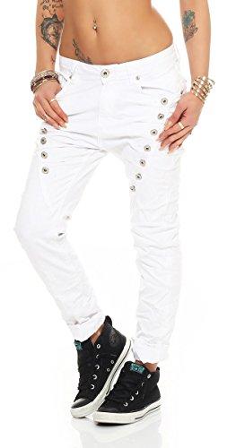 Fashion4Young 10826 MOZZAAR Damen Jeans Jeans Röhrenjeans Haremshose Damenjeans Hüftjeans Baggy (XS=34, Weiss) -