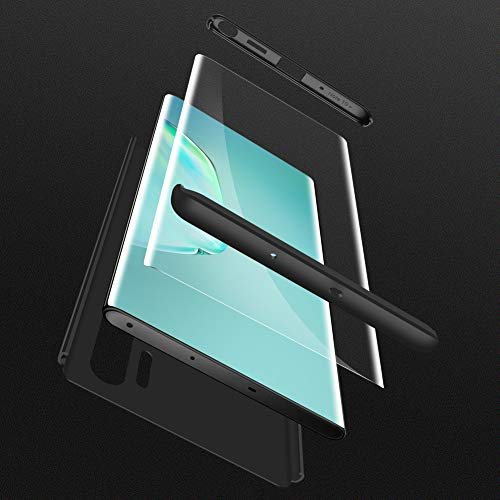 HOJKCY Coque Compatible avec Samsung Galaxy Note 10 Plus,Étui 360 Degree Antichoc Protection Matte PC 3 en 1 Anti-Scratch Full Body Cover Housse Bumper Case +Protège Écran Verre Noir