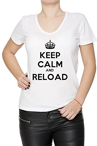 keep-calm-and-reload-blanco-algodon-mujer-v-cuello-camiseta-mangas-white-womens-v-neck-t-shirt