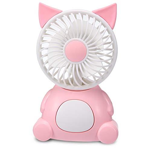 TEEPAO Mini-Ventilator in Tierform, batteriebetriebener Schreibtischventilator mit Buntem Licht und 2 Geschwindigkeiten, Handkühler für Schlafzimmer, Büro, Camping, Reisen, Blau Fox Rose (Ventilator Fox)