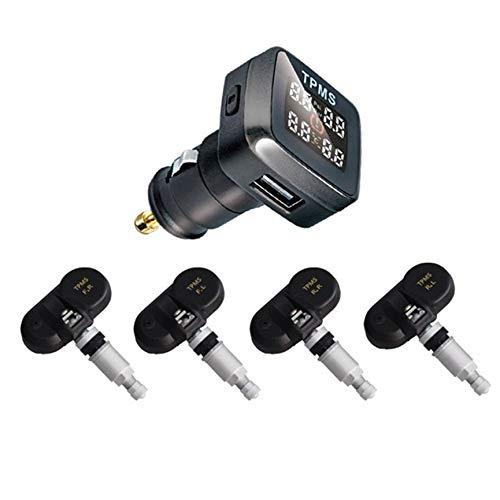 Peanutaod Universal del coche TPMS Monitor de presión de neumáticos en Tiempo real encendedor de cigarrillos LCD Pantalla digitales Alarmsystem de seguridad del coche