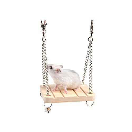Runfon Columpio Madera hámster Juguete de Madera para hámster Ardilla ratón pequeño de Mascotas