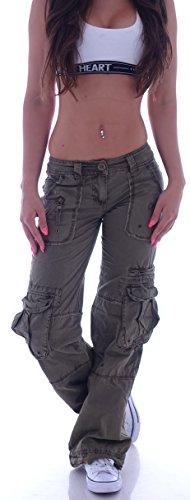 Damen Cargohose Stoffhose Cargo Hose Hüfthose Jeans XS 34 S 36 M 38 L 40 XL 42 XXL 44 (XXL 44, Khaki) (L 40, Khaki)