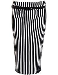 FANTASIA BOUTIQUE ® New Ladies Long Slim Belted Office Work Women's Skirt