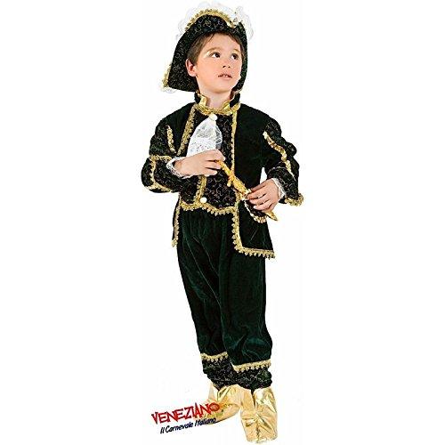Marchese di venezia costume carnevale velluto verde oro bambino ragazzo 7 anni veneziano