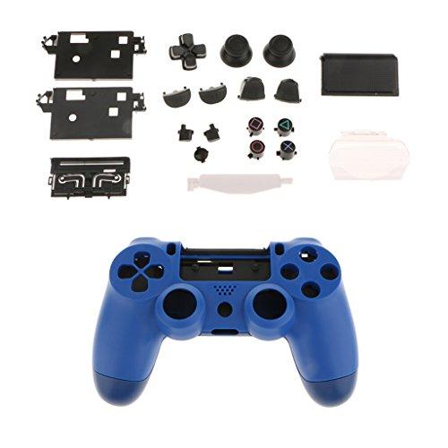 Homyl 14 Tasten Ersatz Buttons und Touchpad Für PS4 Controller Kontroller + Schutzhülle + 6pcs Plastikfolien für PS4 Pro Controller - Blau