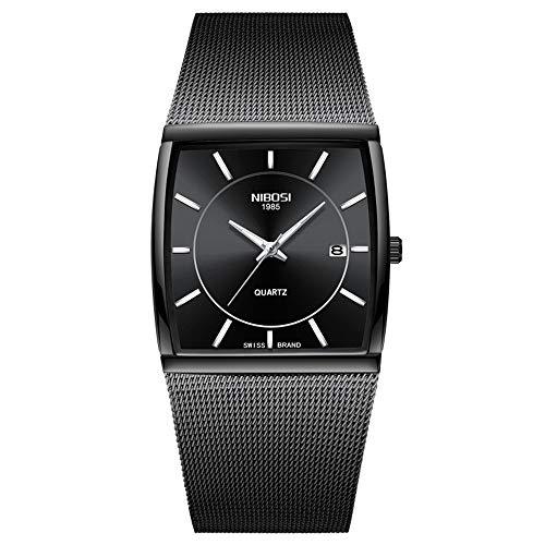 Herrenuhren Quadrat Ultra-dünn Zifferblatt Kalender Breit Cuff Uhren Armbanduhren für Herren Edelstahl Mesh Band Mode, Schwarz -