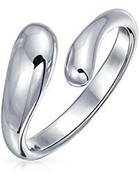 Bling Jewelry Plata anillo en forma de lágrima alargada