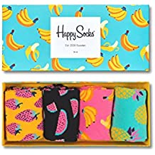 Happy Socks Fruit Gift Box, Calcetines para Hombre, Gelb (Koralle 3000), Talla única(Pack de 4)