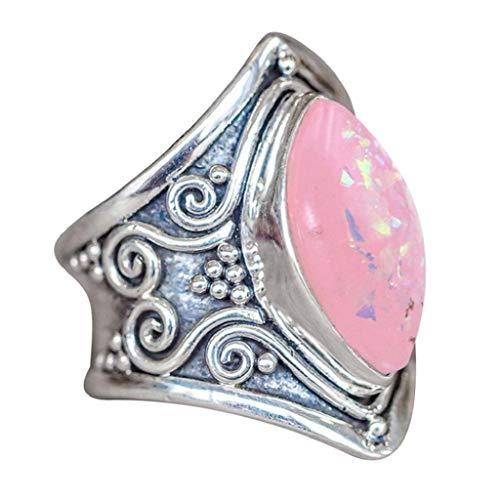 VJGOAL Damen Ring, 1PC Frauen Boho Schmuck Silber natürlichen Edelstein Marquise Mondstein personalisierte Ring Frau Geschenk (11, Silber-Rosa)