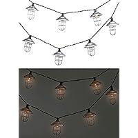 Lunartec LED-Warmlichterketten: Solar-LED-Lichterkette mit 10 Metall-Laternen, warmweiß, IP44, 1,6 m (Gartengirlande)