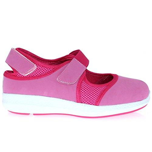 GETFIT Femmes Mary Jane Sangle Velcro en Marchant Coupé Sport Poids Léger Formateurs Rose/Blanc