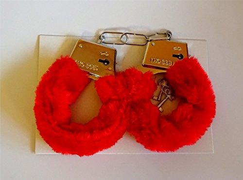 Handschellen rot mit Pelz - Kama-Sutra, Erotik. Tolles Geschenk zum Valentinstag, Pelzhandschellen Sex Toy, sexy Geschenkidee, Sextoy