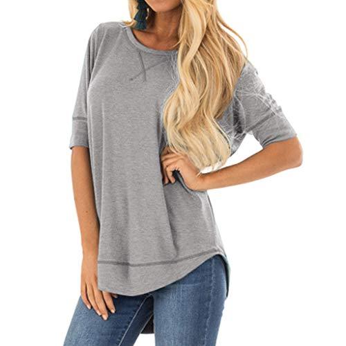 kolila Damen Tops Einfarbig Unregelmäßiger Rand Halbe Hülse Lose T-Shirts T Shirt Sommer Lässige Blusen ()