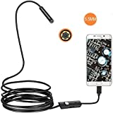CALDIPREE 5.5mm 2M USB Cable Waterproof 6LED Android Endoscope 1/9 CMOS Mini USB Endoscope Inspection Camera Borescope for Android Phone PC