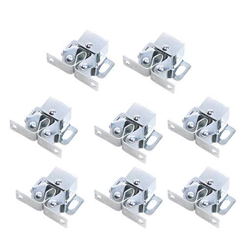 Möbelschnäpper 8 Stück,CCUCKY Silber Doppel-Rollenschnäpper für Schrank , Kleiderschrank Tür Ball Roller Catch,Normale Größe passt für Alle Möbel