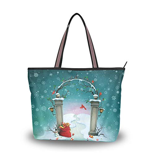 Emoya Damen Tote Schultertasche Christmas Gates Snowflakes Red Cardinal Top Handle Satchel Handtasche L, Mehrfarbig - multi - Größe: Medium -