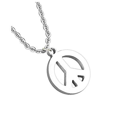Bungsa Peace Halskette mit Pendant Anhänger Friedenszeichen Silber Edelstahl (Edelstahlkette Damenkette Herrenkette Necklace Herren Frauen Männer Schmuck) (Männer Peace Für Halskette Zeichen)