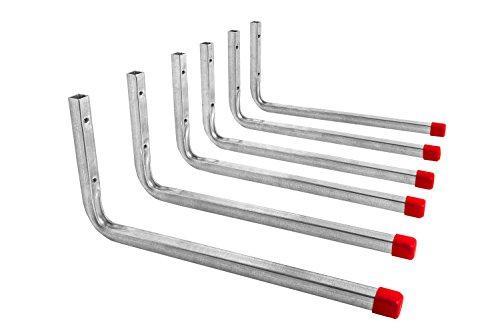 Gedotec Gerätehalter Metall Wandhaken Werkstatt Regal-Montagehaken Garage - LINE   Metall verzinkt   Länge 350 mm   Geräte-Haken L-Form zum Schrauben   6 Stück - Garagenhaken Set für die Wand-Montage